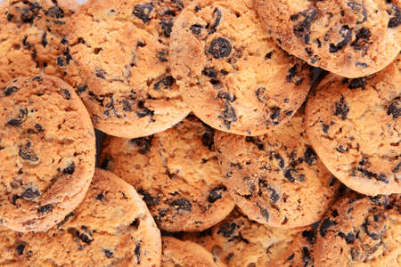 Cookies with chocolate crumbs background