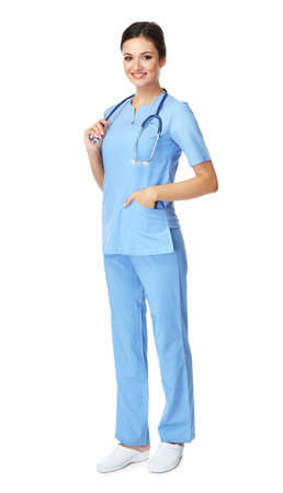 Smiling medical doctor isolated on white Stock Photo