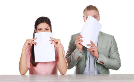 TV anchors training for telling news Stock Photo