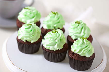 Beautiful Chocolate Cupcakes With Mint Cream Stock Photo Picture