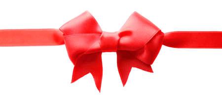 Horizontal ribbon with bow, isolated on white Stock Photo