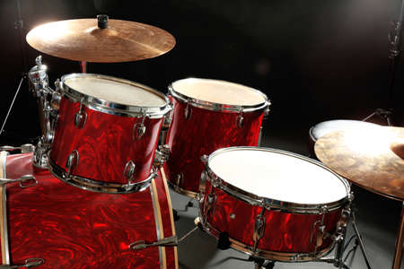 Drum set on a stage Stock Photo