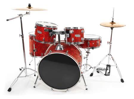 Set van rode drums geïsoleerd op een witte achtergrond