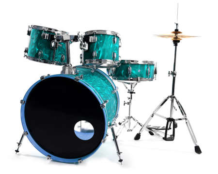 Set of drums isolated on white background