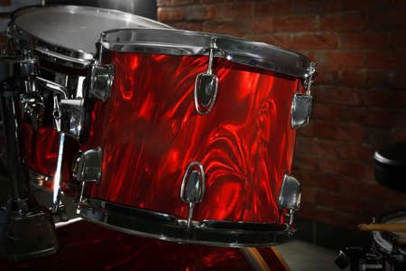 Drum set on brick wall background Stock Photo - 94847793