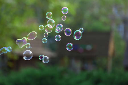 Soap bubbles outdoor Stock Photo