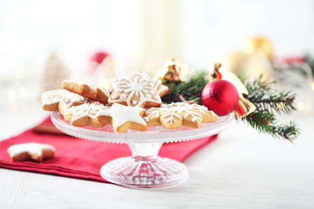 Beautiful cookies with Christmas decor Stock Photo