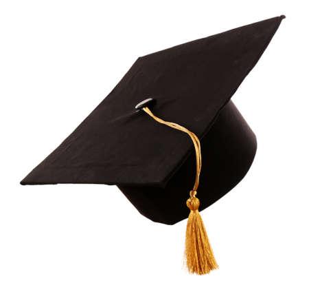 Zwarte studentenhoed, geïsoleerd op wit Stockfoto - 94917563