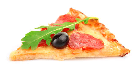 Slice of pepperoni pizza with olives and arugula, isolated on white Stock Photo
