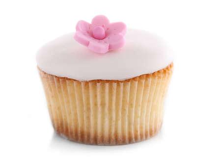 Tasty cupcake, isolated on white Imagens