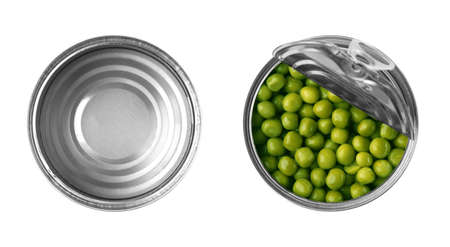 Empty and open tin cans with green peas on white background