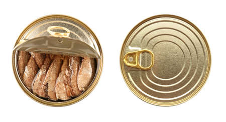 Closed and open tin cans with fish on white background Stock Photo