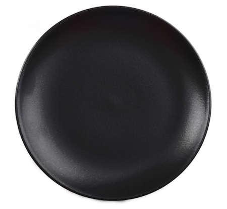 Black plate isolated on white background Stock Photo