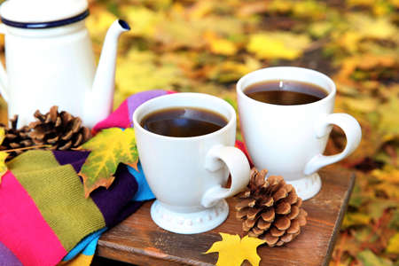 Autumn composition with hot beverage on nature background Stock Photo