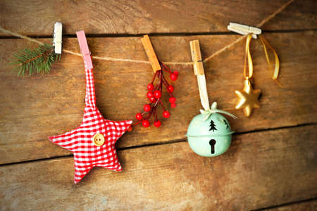Beautiful Christmas toys on old wooden background