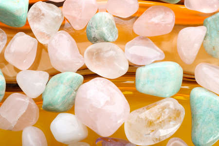 Semiprecious stones on bright background Banco de Imagens