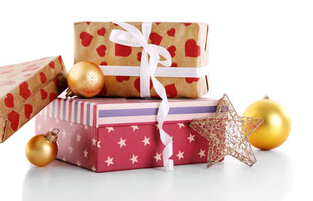 Beautiful Christmas Gifts With Toys Isolated On White Background ...