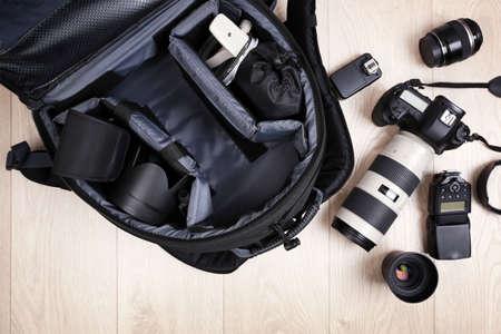 Photographer's equipment on the floor in a room Stock fotó
