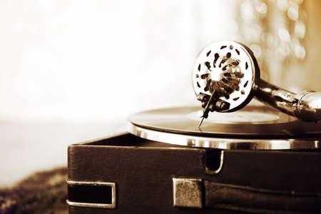 Old gramophone closeup Stock Photo
