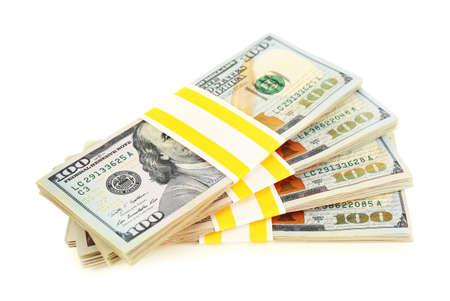 Hundred dollar bills, isolated on white background Stock Photo