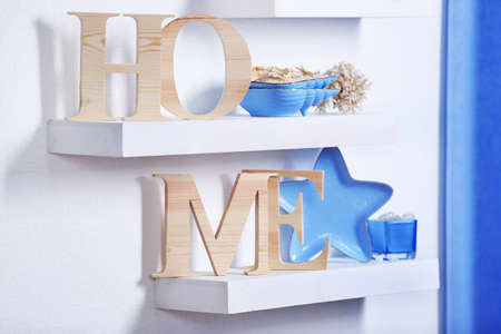 Blue home decor on the shelf 写真素材