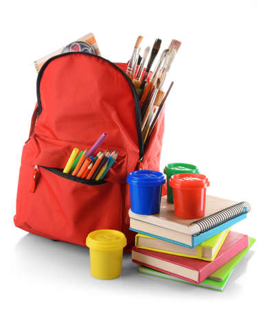 Red backpack with colourful paints isolated on white background Stock Photo