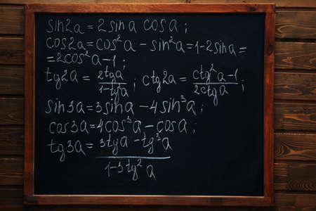 School blackboard with formulas on a brick wall