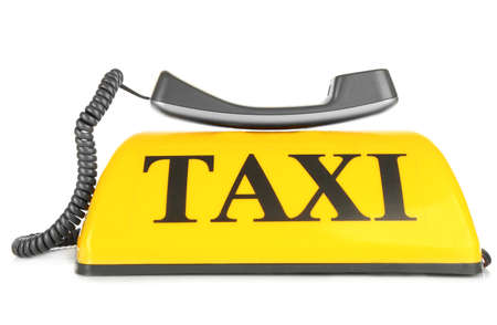 Transportation concept. Yellow taxi sign with grey receiver isolated on white background, close up Stock Photo