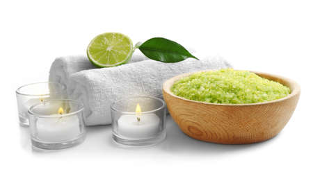 Relaxing spa set on white background, close up