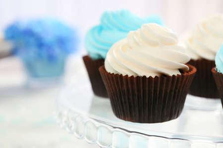 Cupcakes on glass dish closeup