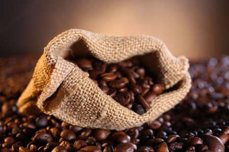 Sackcloth bag with coffee beans closeup
