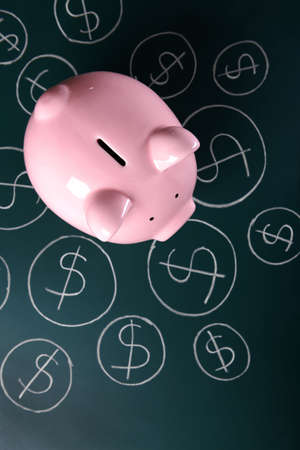 Piggy bank on a chalkboard with Dollar currency symbols 写真素材