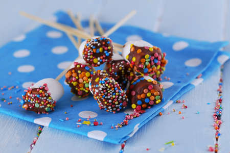 Tasty marshmallows with chocolate on sticks, close up Stock Photo