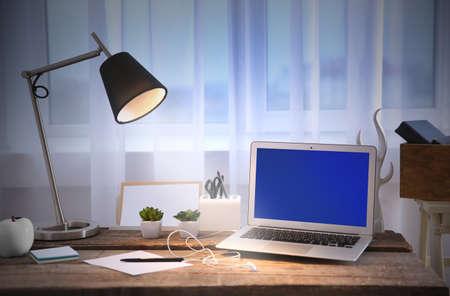Modern workplace on light background Banque d'images