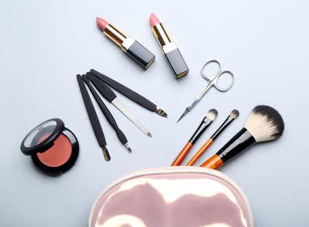 Set of cosmetics on light background Stock Photo