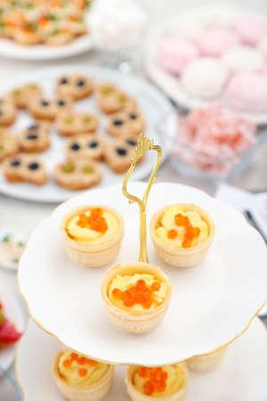 Set of cold snacks, canape and dessert, closeup Stock Photo