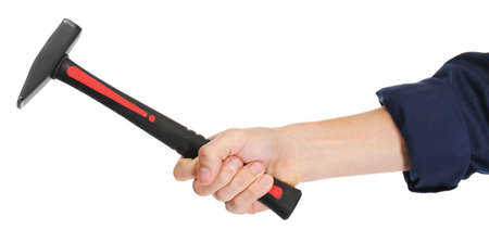 A hand of repairman holding a hammer, on white background, close-up Stockfoto