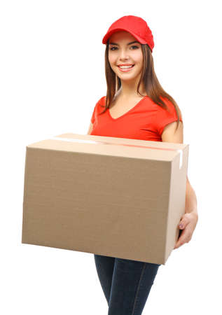 Young attractive delivery woman with a carton package, isolated on white
