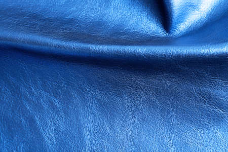 Blue leather texture close up