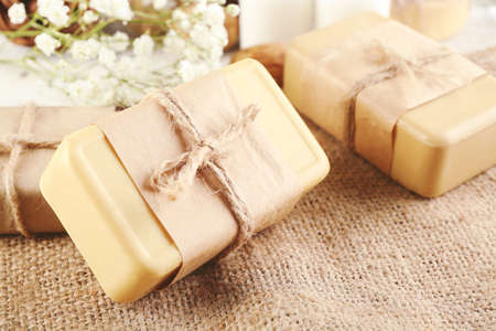 Soap set on a cloth background, close up Stock Photo