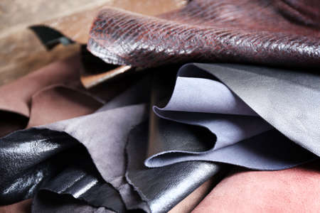 Ragged leather material wrong side background Stock Photo