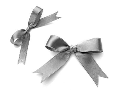 Beautiful silver bows isolated on white background
