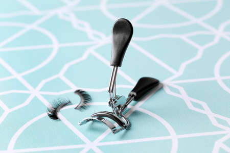 Curler and false eyelashes, close up