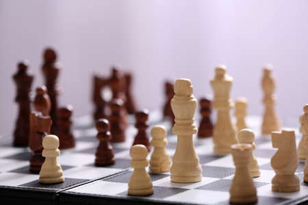 Chess pieces and game board
