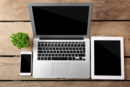 Different modern devices with green plant on wooden table 스톡 콘텐츠
