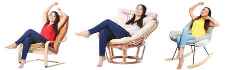 Set mit jungen Frauen sitzen in bequemen Sesseln auf weißem Hintergrund Standard-Bild - 95589985