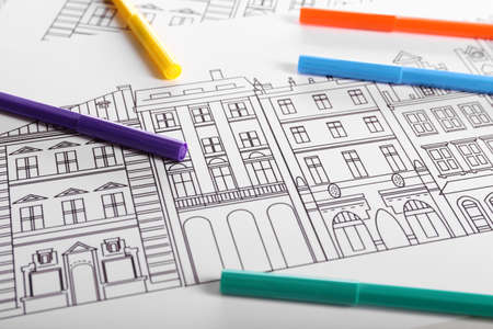 Drawing of buildings and colour felt pens