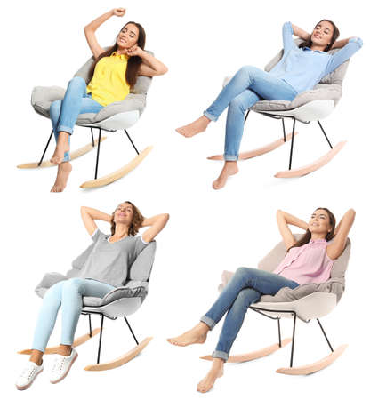 Set with young women sitting in comfortable armchairs on white background