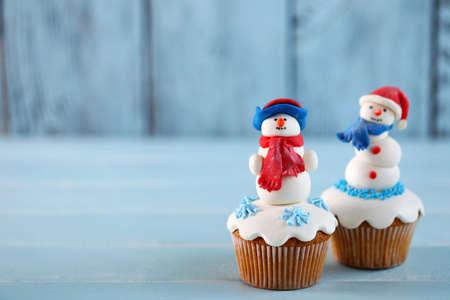 Christmas cupcakes, closeup