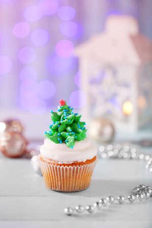 Christmas cupcake, closeup